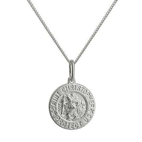 Collier et Pendentif Médaille de Saint Christophe en Argent 925/1000 Mate - 46cm