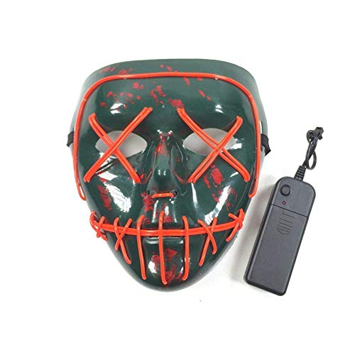 Phantasie Gesichtsmaske Halloween Cosplay Halloween Kaltlicht Maske Tanz Cosplay Party LED Maske Halloween Horror Licht Maske Glow Horror Maske Prom Party Dress Up Maske Batteriebetrieben (Horror-thema Dress Up)