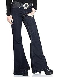Dunkelblaue Jeans Schlaghose mit Hüftsitz Star Dark
