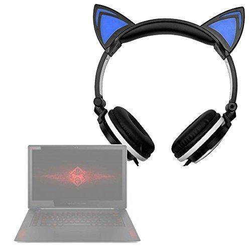 DURAGADGET Auriculares Plegables de Gato en Negro para ASUS K540LA XX659T / Chuwi LapBook 12.3 / HP 14 bs036ng, HP 15 bs030n, HP OMEN 15-ce002ns, HP Pavillion 15 cc508ns