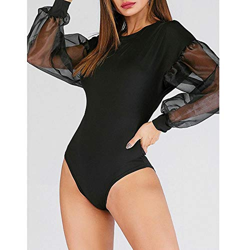 FIRSS-BH Damen Bodysuit Langarm Spitze Jumpsuit Transparent Sexy Overalls Rundhals Langarmshirts Elegant Strampler Basic Playsuit Kurze Spielanzug Einfarbig Bodies Body S - 3