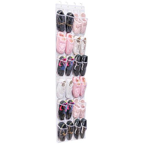 Maidmax - scarpiera dietro porta, tasche portaoggetti trasparente, scarpiera da appendere a 24 tasche per 12 paia di scarpe, porta scarpe salvaspazio, bianca e trasparente