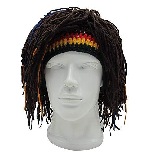 Vpuquuz Erwachsene Unisex Rasta Perücke Beanie Hüte Mützen Jamaica Rasta handgemachte Strickmützen Reggae Dreadlocks Roman lustige Geschenk häkeln Kappe Caps (Dunkelbraun)