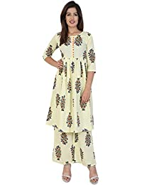 PURE COMFORT Women's Cotton A-line Kurti With Plazzo, Long Kurtis With Plazzo For Women, Kurti Plazzo Set, Kurtis...