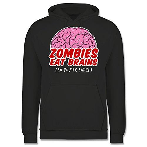 Shirtracer Halloween - Zombies eat Brains - so You´re Safe! - XXL - Anthrazit - JH001 - Herren Hoodie (Halloween 2019 Zombie-marke)