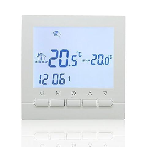Beok BOT-313W.BL Thermostat d'ambiance programmable filaire avec écran LCD, contrôle de la chaudière et régulation intelligente de la température - Alimenté par piles LR6, rétro-éclairage blanc/bleu, blanc, 1.50 voltsV