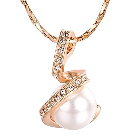 Yoursfs Collier Femme Fille 18k plaqué Or Pendentif en perle de culture et Zircon cubique comme Accessoire ou Cadeau Fête