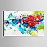 """HJL Pintada a mano Abstracto Horizontal,Modern Estilo europeo Un Panel Lienzos Pintura al óleo pintada a colgar For Decoración hogareña , include inner frame , 24"""" x 36"""""""