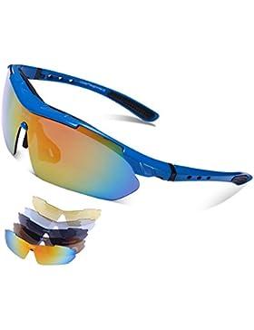 Carfia TR90 UV400 Unisex Gafas de Sol Deportivas Polarizadas 5 Lentes de Cambios Incluido para Deporte y Aire...