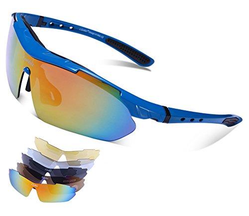 Carfia TR90 UV400 Unisex Gafas de Sol Deportivas Polarizadas 5 Lentes de Cambios Incluido para Deporte y Aire Libre Ciclismo Conducción Pesca Esquiar Golf Correr Azul