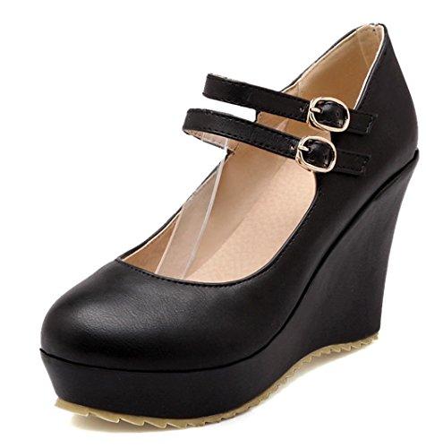 YE Damen High Heels Plateau Runde Spitze Geschlossen Riemchen Pumps mit Keilabsatz und Schnallen 10cm Absatz Schuhe Schwarz