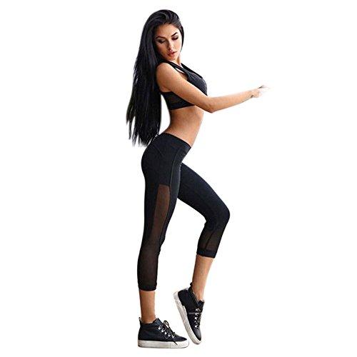 Yogahosen für Damen 3/4 Length mit Mesh, LeeMon Skinny Leggings Patchwork Mesh Yoga Leggings Fitness Sports Capri Pants (Schwarz, S)