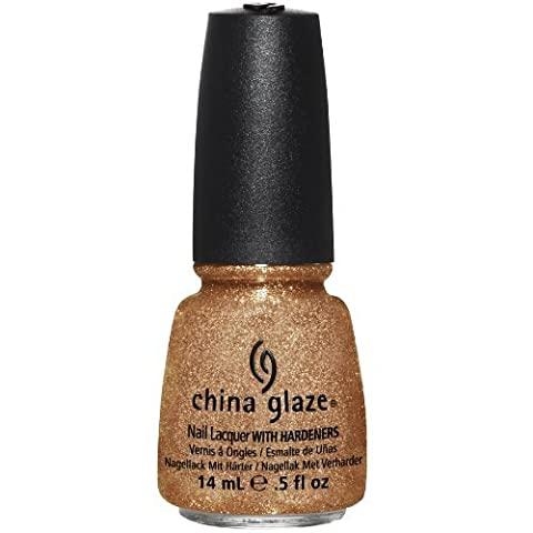 China Glaze Nail Lacquer with Hardner - 3D Glitter Effect - Champagne Kisses, 1er Pack (1 x 14 ml) (Effect Champagne)