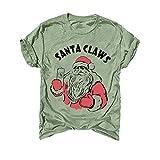 iYmitz Weihnachten Blusen Elegante Damen Frauen Weihnachten Santa Brief drucken Kurzarm O-Ausschnitt T-Shirt Tunika Bluse Tops