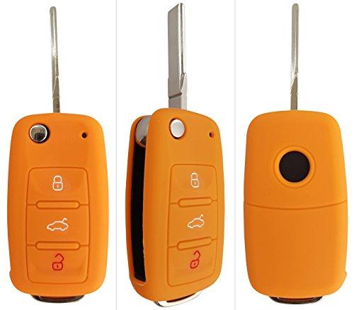 CK+ VW Auto-Schlüssel Hülle Key Cover Case Etui Silikon für Up Polo Golf Plus Passat Sharan Touran Caddy Beetle Cabriolet Eos Jetta Transporter - Orange Orange Elektronik