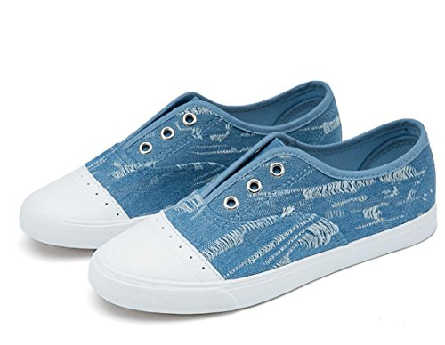 SHFANG Dame Schuhe Flat Bottom Permeability Freizeit Canvas Cowboy Studenten School Daily Zwei Farben Blue