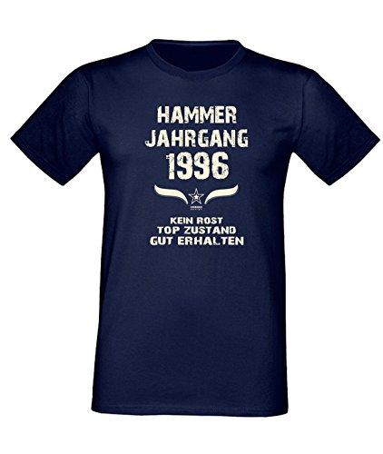Sprüche Fun T-Shirt Jubiläums-Geschenk zum 21. Geburtstag Hammer Jahrgang 1996 Farbe: schwarz blau rot grün braun auch in Übergrößen 3XL, 4XL, 5XL blau-01