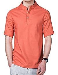b8a4a14db4f Hibote Camisa Hombre Lino Casual de Manga Corta Top Cuello Alto de Color  Sólido Suelta Camisas