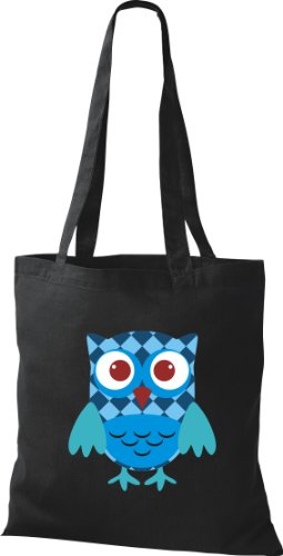 Owl Karos Punkte Farbe schwarz Retro niedliche Eule Bunte diverse streifen Tragetasche Stoffbeutel mit xwB4TpqUR