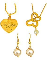 Surat Diamonds 2 Big Bow Heart Shaped Gold Plated And Shell Pearl Pendant And Earring Set For Women With 22 IN...
