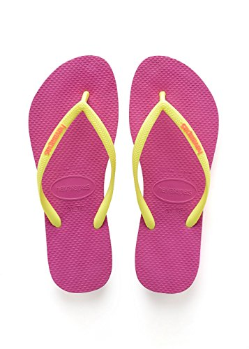 Havaianas Slim Logo, Tongs Femme Rose (Hollywood Rose)