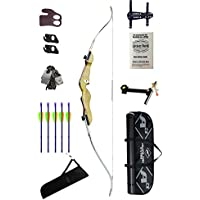 """Archery Recurve Bow with wood handle Kit 1 - Adult - 68"""" bow - right hand (pull string with right hand)"""