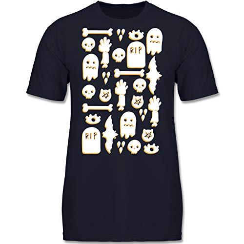 Anlässe Kinder - Halloween Totenkopf Mosaik - 116 (5-6 Jahre) - Dunkelblau - F130K - Jungen Kinder T-Shirt