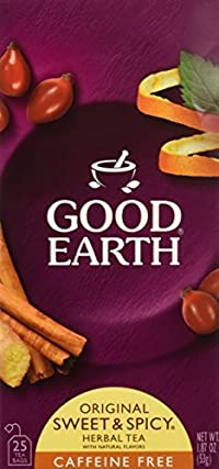 Good Earth Caffeine Free Original Herbal Tea, Sweet & Spicy 25 Bags 3 Pack, Total 3-1.87oz(53g)