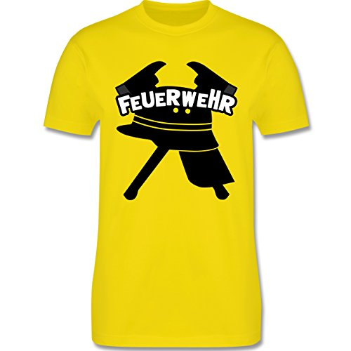 Feuerwehr - Feuerwehr Helm Axt - Herren Premium T-Shirt Lemon Gelb