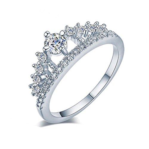 VJGOAL Damen Ring, 2018 Geschenk der Frau Valentine Neue Dame Fashion Gold Ziemlich Krone Kristall Prinzessin Verlobungsring (Größe 6=Durchmesser 16,5mm, Silber)