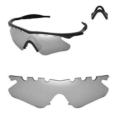 Walleva Entlüftete Ersatzlinsen oder Linsen mit schwarzem Nasenpolster für Oakley M Frame Heater Sonnenbrille - 20 Optionen (Titan Polarisierte Linsen + Nasenpolster)