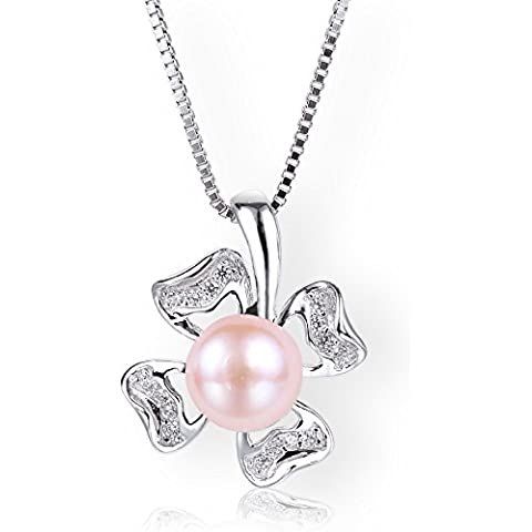 Startreasureland-Collana in argento Sterling 925, pendente a forma di quadrifoglio, 7 mm, colore: rosa, con perle di acqua dolce coltivate, (Mothers Day gift)