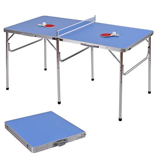 COSTWAY Mini Table de Ping-Pong Pliable Portable Tennis de Table avec 2 Raquettes et 2 Balle pour Extérieur et Intérieur 152, 4 x 76, 2 x 76, 2 cm Bleu
