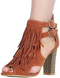381afad5c6426b Kolnoo Femmes Main Sandales à Talons épais Chaussures d'été du Bureau ...