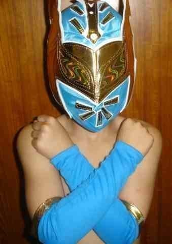 SIN CARA BLUE FANCY DRESS UP COSTUME OUTFIT SUIT GEAR WRESTLEMANIA HALLOWEEN MASK SLEEVES STYLE WWE WRESTLING by SOPHZZZZ TOY ()