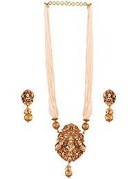AccessHer Gold Plated Lakshmi Temple Necklace Set With Pearls For Women