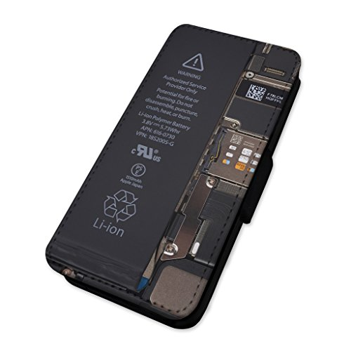 Handy Komponenten–auseinandergebaut Witz–Flip Case Wallet Cover Apple Iphone 6 Plus/6s Plus