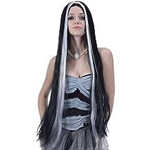 Peluca larga negra y blanca mujer 90 cm - Única