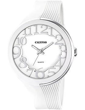 Calypso Damen-Armbanduhr Fashion analog PU-Armband weiß Quarz-Uhr Ziffernblatt weiß UK5706/1