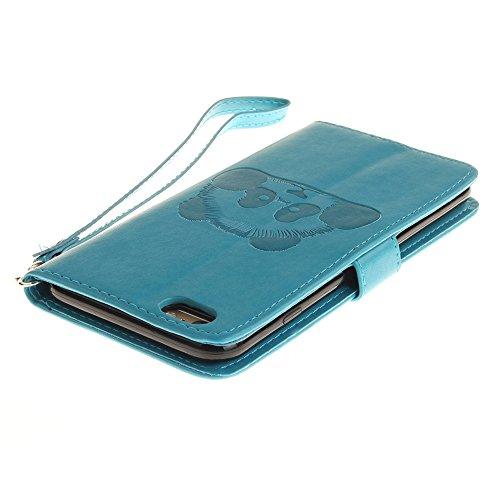 iPhone Case Cover Normallack 3D Netter Panda prägeartige PU-lederne Kasten-Abdeckung mit Lanyand Karten-Schlitzen für IPhone 6 6S ( Color : 4 , Size : IPhone 6 6S ) 2