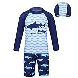 inlzdz Enfant Garçons Maillot de Bain Deux Piece Manches Lobgues Requin Imprimé Anti-UV Maillot Combinaison avec Bonnet de Bain Enfant Swimsuit 2-12 Ans Bleu 3-4 Ans
