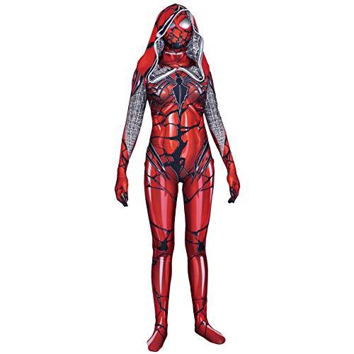 Kostüm Venom Frauen - QWEASZER Frauen Venom Red Spider-Man Spandex Overall Kostüm Kostüm Zentai Onesie Kleidung Halloween Cosplay Party Bodysuit Film Onesies,Spiderman-150~155cm