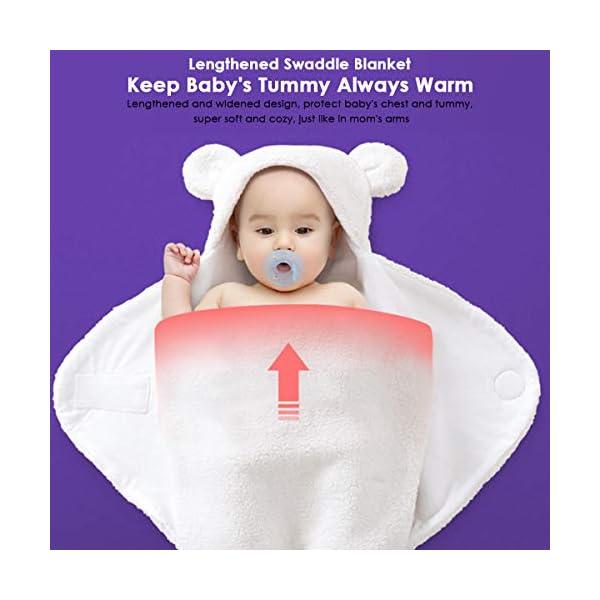 Yinuoday Manta con capucha para recién nacidos con capucha, Manta Swaddle para bebés Saco de dormir ultra suave para bebés Invierno cálido 0-6 meses