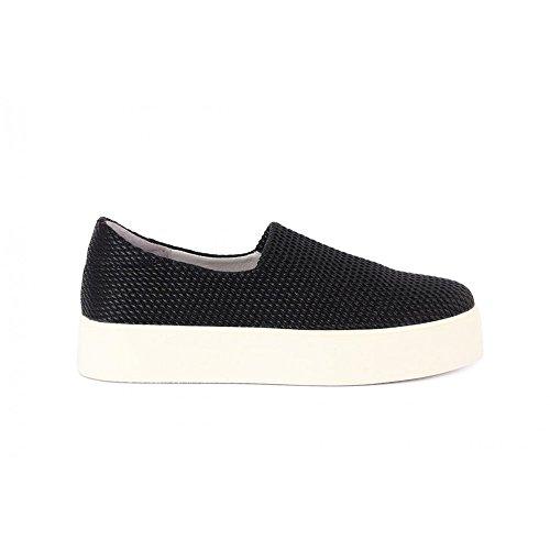 FRAU 37Y0 nero scarpe donna sneakers slip-on elasticizzata plateaux Nero
