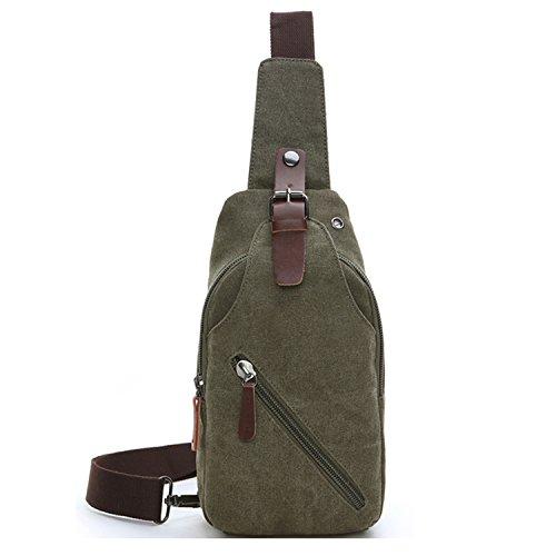 Outreo Herrentaschen Vintage Brusttasche Kleine Umhängetasche Herren Leder Schultertasche Sporttasche Messenger Taschen für Sport Reisetasche Retro Tasche Grün