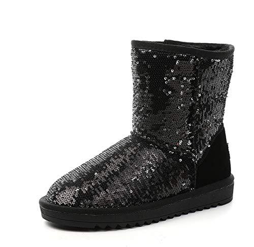 DANDANJIE Women es Snow Boots Winter Rutschfest Classic Mid-Calf Boots Sequin Flat Slip-On Ankle Boots Black,Black,37EU Classic Mid-boot