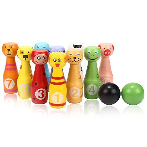 Jacootoys Bowling-Set aus Holz mit 10 Tiernadeln und 2 Bällen, Lernspielzeug für Kinder ab 2 / 3 / 4 / 5 Jahren