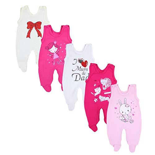 TupTam Baby Unisex Strampler mit Aufdruck Spruch 5er Pack, Farbe: Mädchen, Größe: 74 -