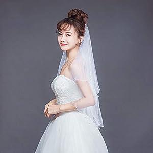 FengJingYuan-ZHUBAO Zweistufige Lace handgemachte Perlengarn Hochzeits-Braut-Hochzeitsschleier mit Haarkamm