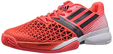 adidas Men's Cc Adizero Feather Iii Solar Red, Core Black and Ftwr White Tennis Shoes - 13 UK